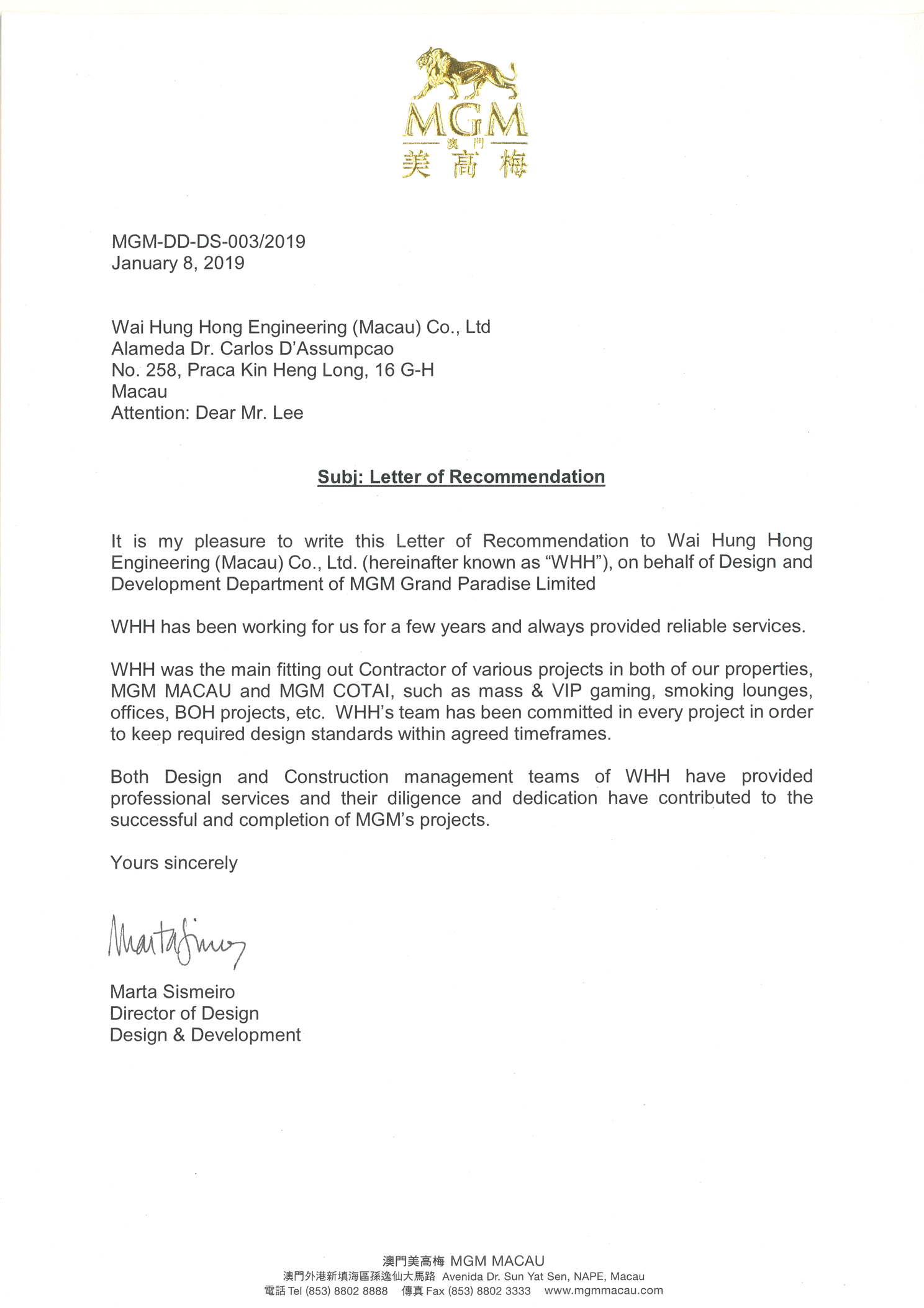MGM MACAU - LETTER OF RECOMMENDATION 2019