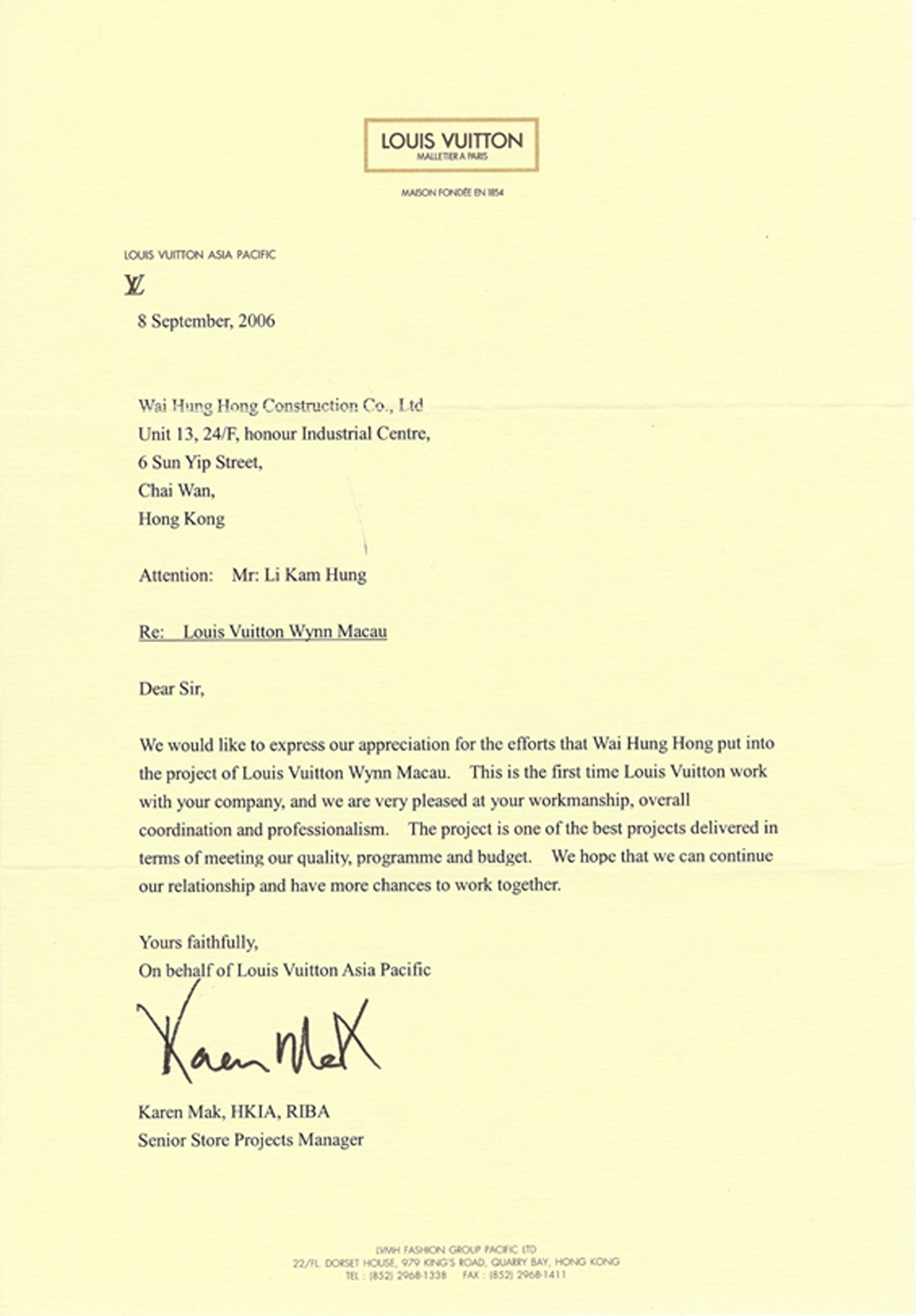 LOUIS VUITTON - LETTER OF APPRECIATION