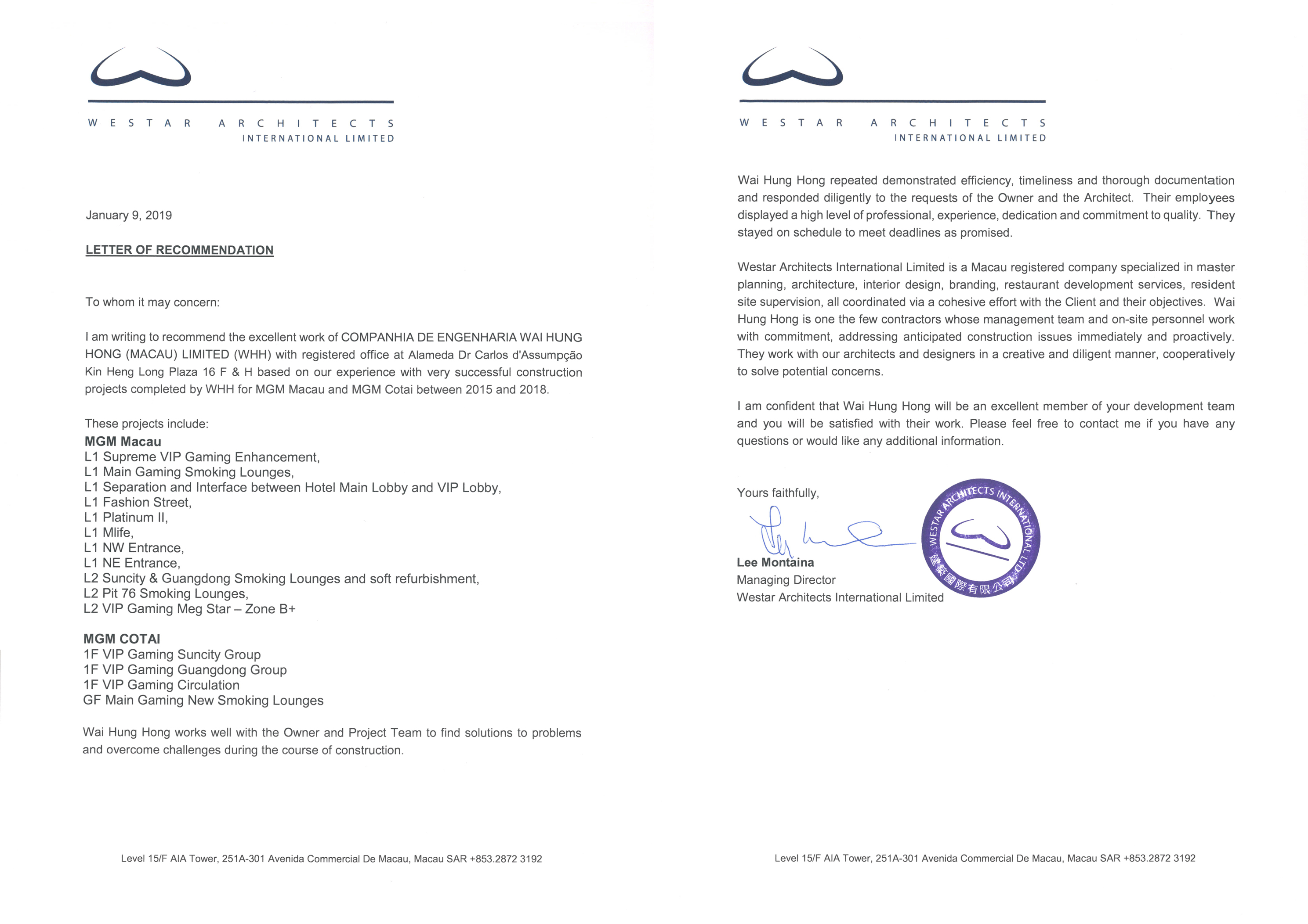 WESTAR ARCHITECTS INTERNATIONAL LIMITED - LETTER OF RECOMMENDATION